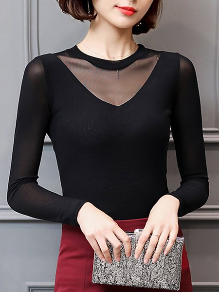 Paneled Casual Plain Long Sleeved Crew Neck Top