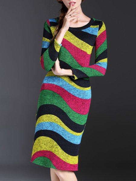 Multicolor Sheat Casual Midi Dress