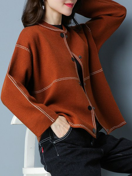 Plus Size Caramel Casual Stand Collar Cardigan