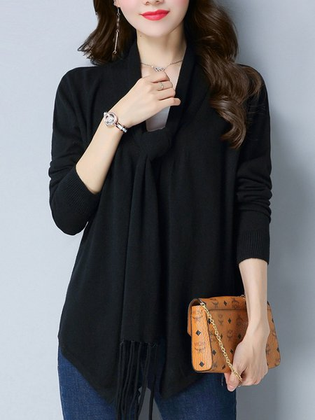 Black Long Sleeve Knitted Solid Asymmetric Cardigan