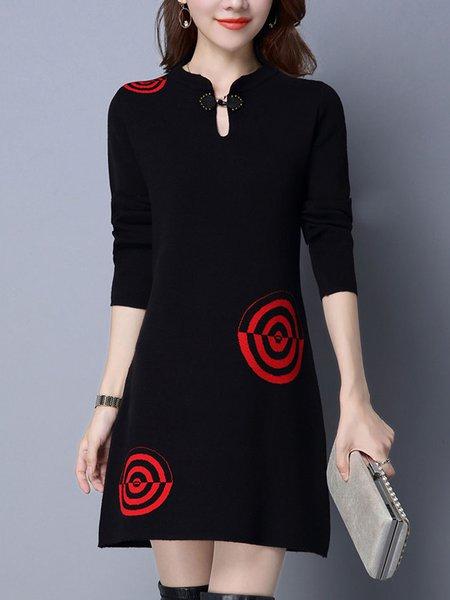 Keyhole Midi Dress Shift Daily Casual Intarsia Dress