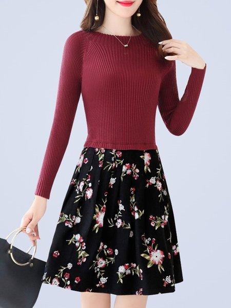 Casual Paneled Knitted Long Sleeve Midi Dress