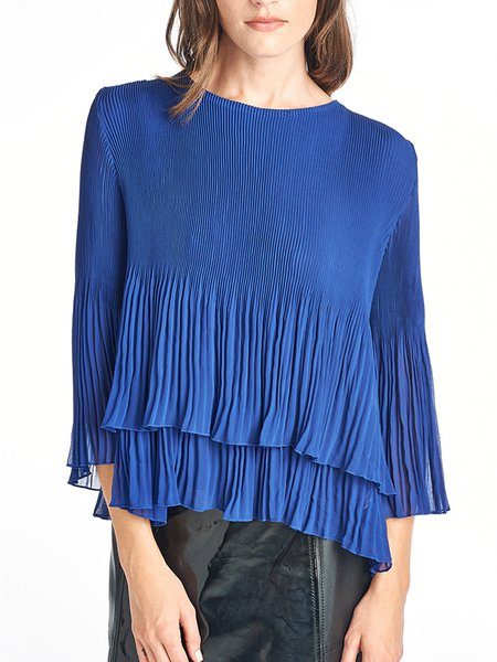 Royal Blue Casual Crew Neck Tiered Top