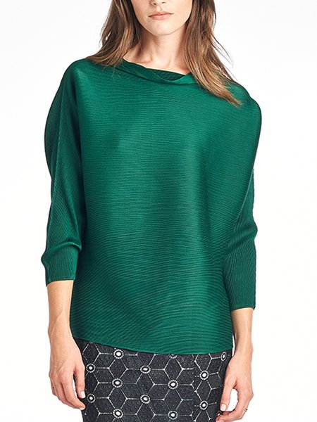 Cowl Neck Casual 3/4 Sleeve Top