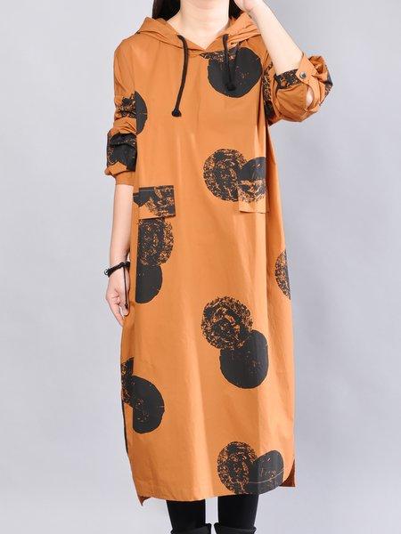 Polka Dots Casual Long Sleeve Linen Dress