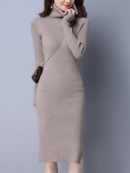 Turtleneck Casual Knitted Long Sleeve Sweater Dress