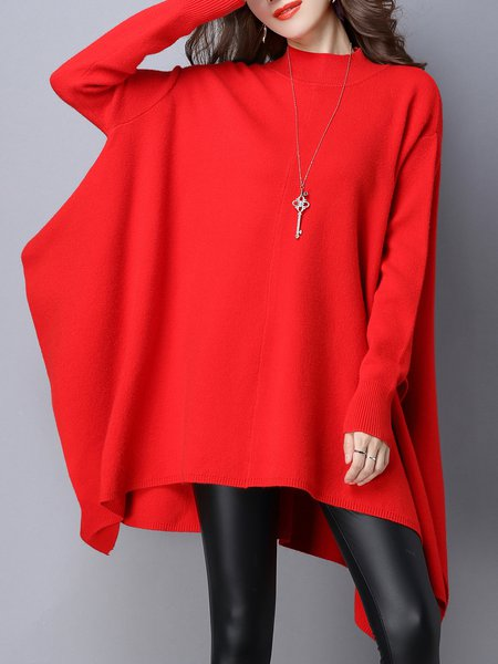Stand Collar  Midi Dress Daytime Batwing Solid Dress