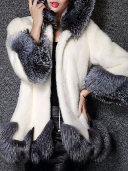 Plus Size Long Sleeve Fluffy Casual Artificial Leather And Shearling Coat