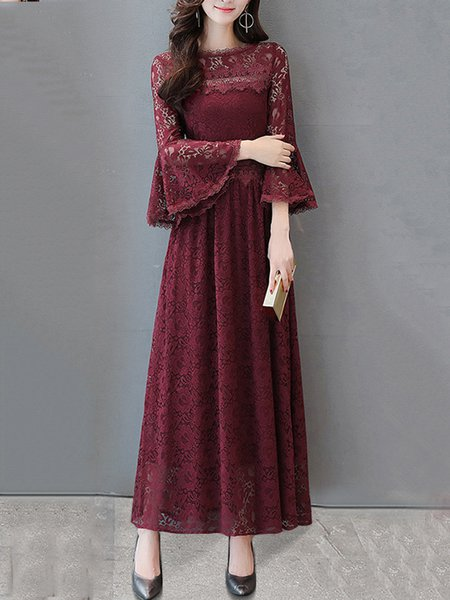 Crew Neck A-line Bell Sleeve Casual Maxi Dress