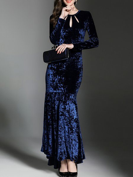 Navy Blue Evening Solid Cutout Maxi Dress