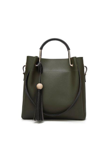 Zipper PU Smooth Leather Shoulder Bag
