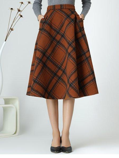 Orange Checkered/Plaid Simple Pockets A-line Midi Skirt
