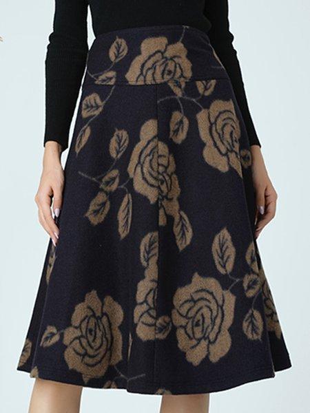 Plus Size Black A-line Elegant Floral Midi Skirt