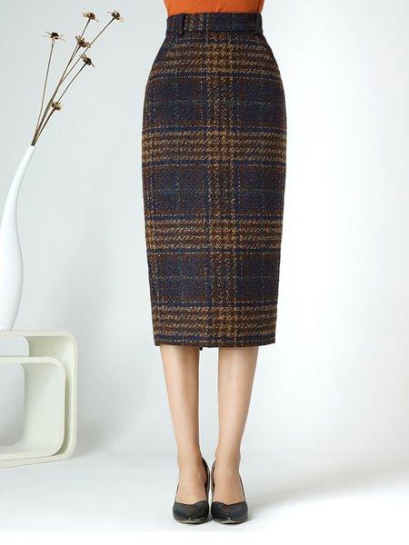 Brown Elegant Sheath Slit Checkered/Plaid Midi Skirt