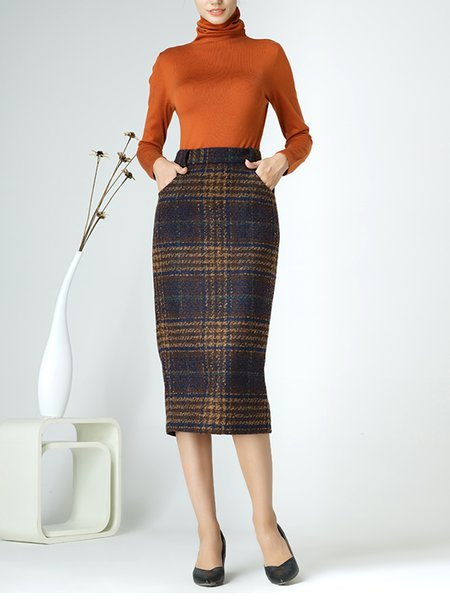 Brown Elegant Sheath Slit Checkered/Plaid Midi Skirt ...