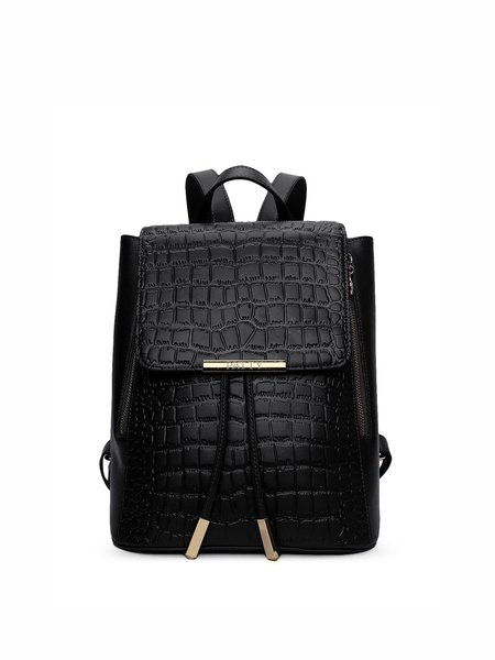 Black Fold-over Flat Top Full-grain Leather Backpack