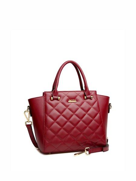 Burgundy Full-grain Leather Casual Zipper Shoulder Bag