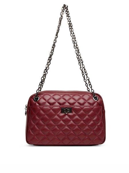 Burgundy Casual Zipper Leather Shoulder Bag