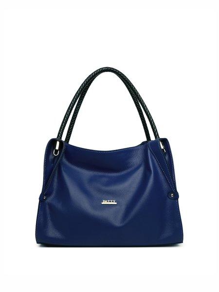Blue Zipper Full-grain Leather Shoulder Bag