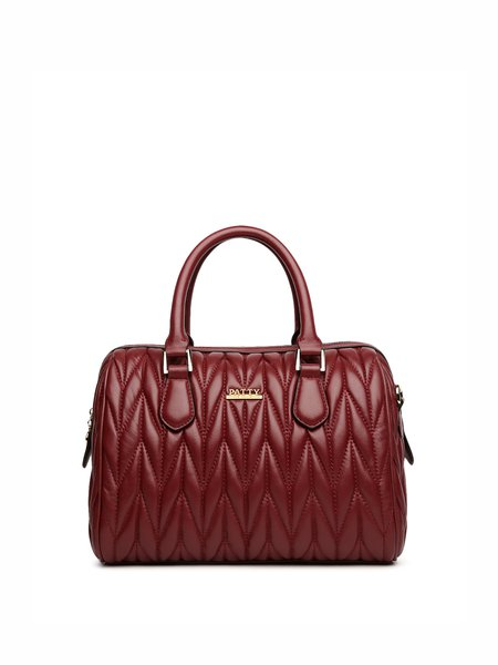 Burgundy Casual Leather Zipper Top Handle