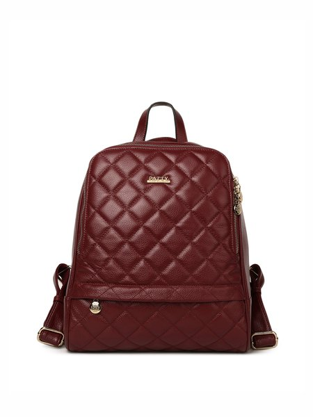 Red Full-grain Leather Zipper Casual Backpack