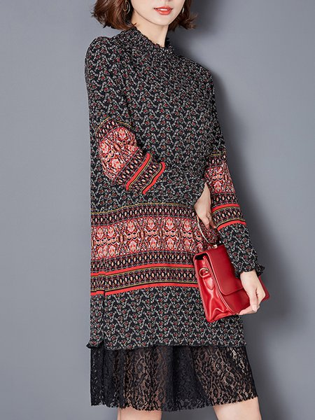 Printed Long Sleeve Casual Stand Collar Tunic