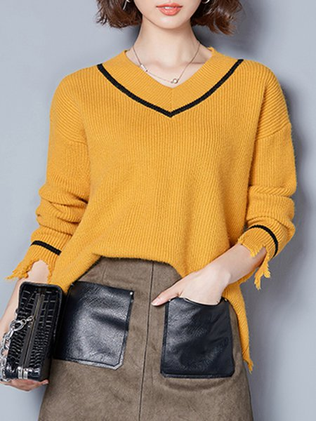Yellow Long Sleeve Plain Knitted Ribbed Sweater - StyleWe.com
