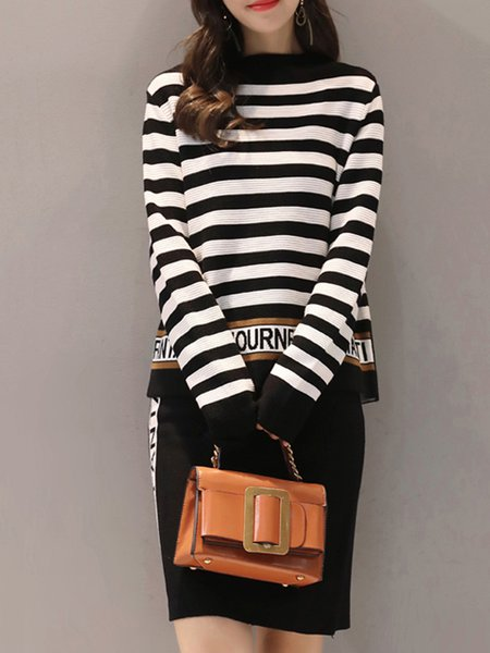 Two Piece Intarsia Casual Long Sleeve Stand Collar Top With Skirt