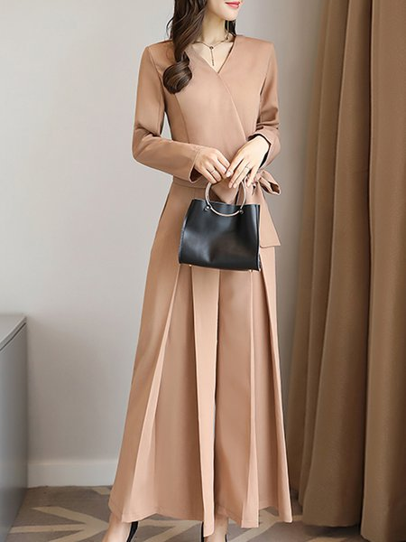 Folds Elegant Solid Long Sleeve Surplice Neck Jumpsuit