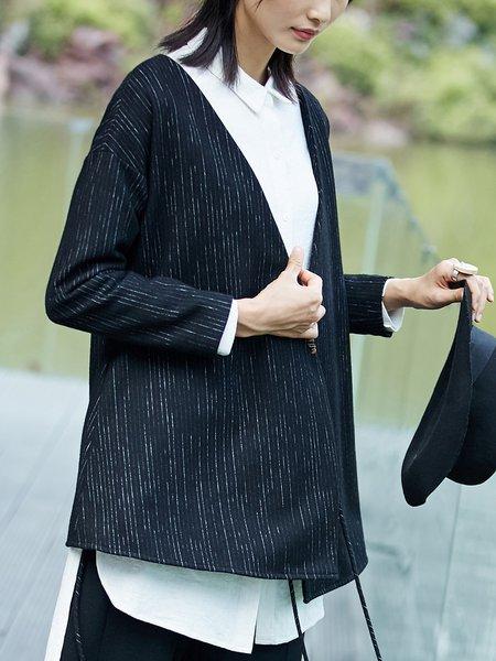 Plus Size Black Plain Slit Cotton Casual Coat