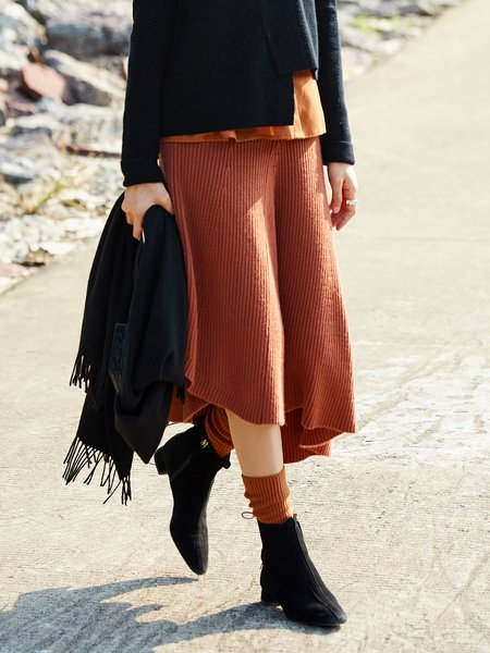 Asymmetrical Knitted Casual Bottom