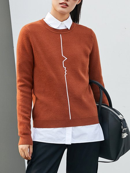 Casual Knitted Long Sleeve Printed Sweater
