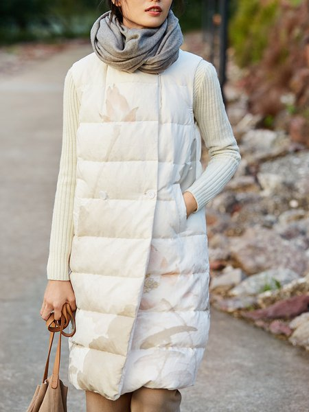 White Casual H-line Lapel Floral Sleeveless Down Coat