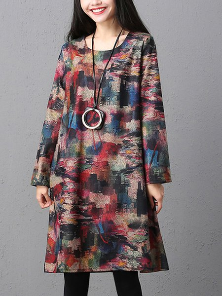 Red Long Sleeve Shift Crew Neck Linen Dress