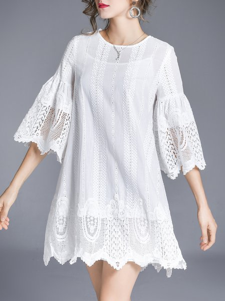 Crochet-trimmed A-line Bell Sleeve Girly Dress With Cami