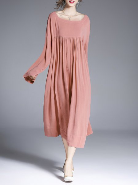Plus Size Long Sleeve Shift Square Neck Casual Linen Dress