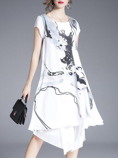 Black Asymmetrical Crew Neck Short Sleeve Cotton Dress