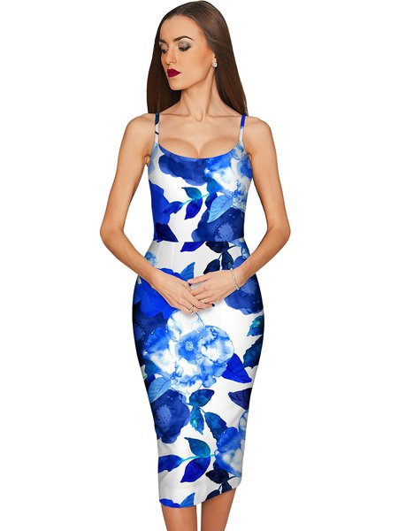 Royal Blue Printed Spaghetti Midi Dress