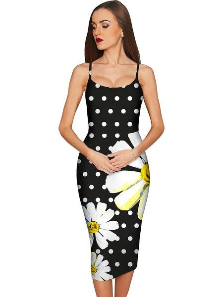 Spaghetti Sexy Printed Bodycon Midi Dress