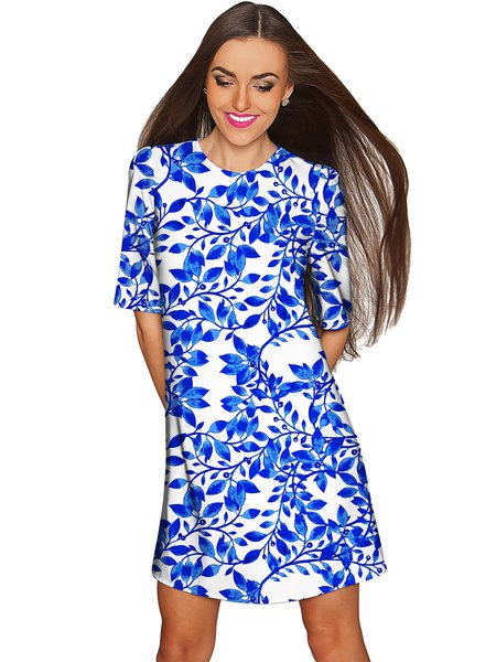 Royal Blue Plus Size Crew Neck Printed Casual Midi Dress