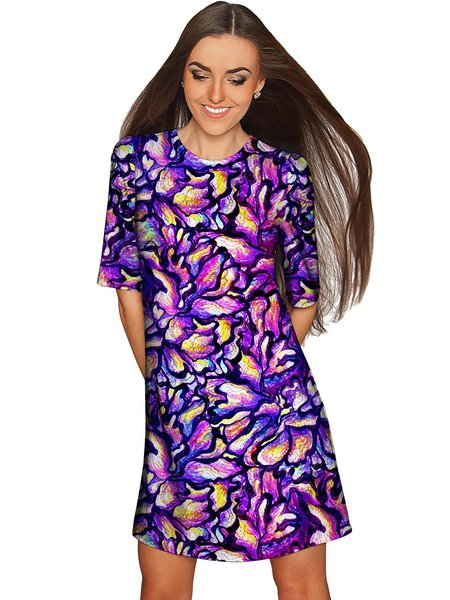 Purple Shift Polyester Half Sleeve Plus Size Midi Dress