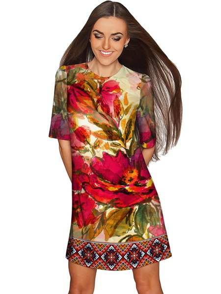 Red Polyester Printed Shift Half Sleeve Plus Size Midi Dress