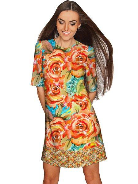 Orange Plus Size Crew Neck Half Sleeve Midi Dress