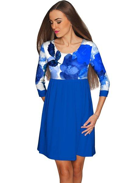 Royal Blue Plus Size Scoop Neckline 3/4 Sleeve A-line Polyester Midi Dress