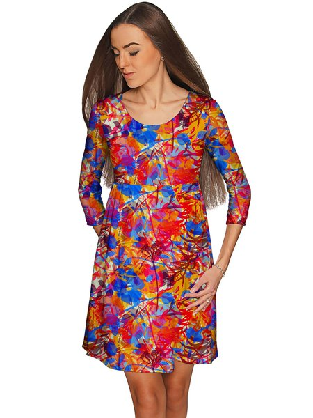 Red Casual Floral Plus Size Polyester Scoop Neckline Midi Dress