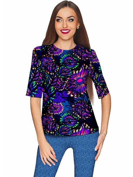 Purple Abstract Crew Neck Printed Half Sleeve T-Shirt