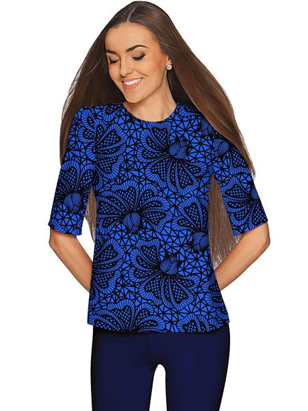 Royal Blue Crew Neck Printed Half Sleeve Floral T-Shirt