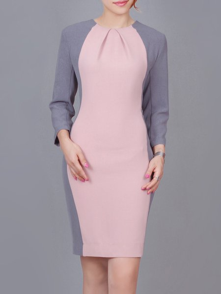 Pink Elegant Cotton-blend Color-block Midi Dress