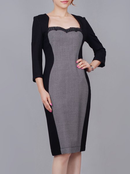 Gray Wool Blend Crew Neck Paneled Elegant Midi Dress