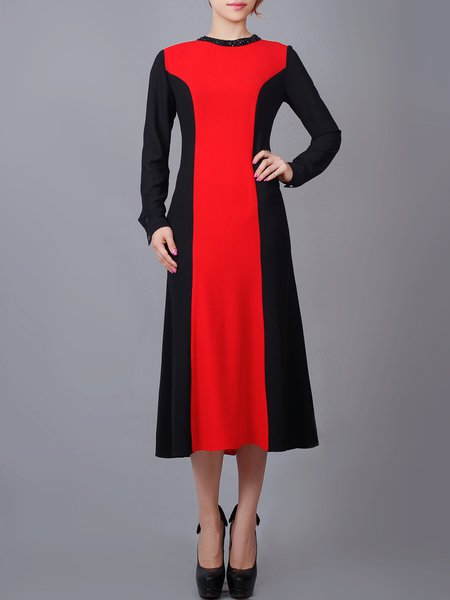 Red Long Sleeve Crew Neck Color-block A-line Midi Dress